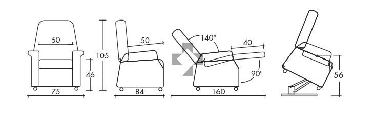 Poltrona rialzatrice lift 2 motori con kit roller e braccioli estraibili July R 02089 Chinesport