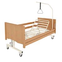 Letto ortopedico elettrico in legno con base regolabile ruote sponde e alzamalati Taurus Lux Otto Bock