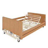Letto ortopedico elettrico in legno con base regolabile ruote sponde e alzamalati Taurus Lux Large Otto Bock
